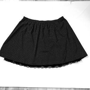 Black White Mini Dot Short Full Skirt Zipper Lined